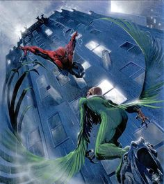 Spider-Man, Vulture By Gabriele Dell'Otto #Comics #Illustration #Drawing