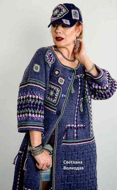 Irish lace, crochet, crochet patterns, clothing and decorations for the house, crocheted. Crochet Coat, Crochet Jacket, Crochet Cardigan, Crochet Clothes, Knitwear Fashion, Knit Fashion, Sweater Fashion, Freeform Crochet, Irish Crochet