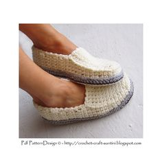 Crochet Slipper Pattern. Winter Loafers with my Tailored Crochet Soles attached as last.