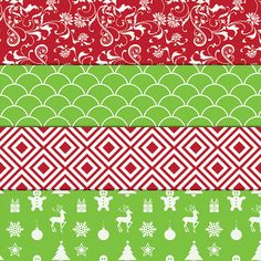 Christmas Digital Paper  Digital Download  300 DPI  12x12