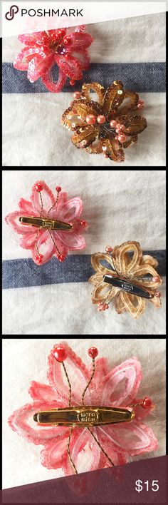 Tiara Misu Clip Embellishment! Set of two! Tiara Misu recreates vintage jewelry and makes wonderful adornments for brides. Set of two, one pink, one beige tones with pink. Clip onto a button up cardigan, or in your hair. Add a little bling to a hair tie... made by tiara misu, originally purchased at Nordstrom ... very strong clip, really pretty accent to an ordinary outfit! Sequin beaded brooch or adornment. Never used. No original tags. Tiara Misu Accessories Hair Accessories