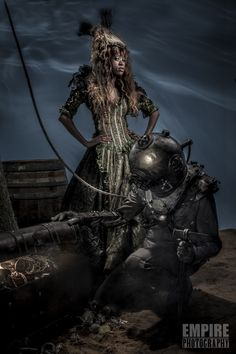 The legend of the diver and the sea witch with vintage dive helmet . Victorian Steampunk, Gothic, Diving Helmet, Sea Witch, Conceptual Photography, Space Crafts, Fashion Shoot, Trick Or Treat, Empire