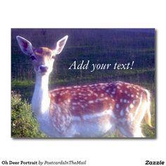 Oh Deer Portrait Postcard