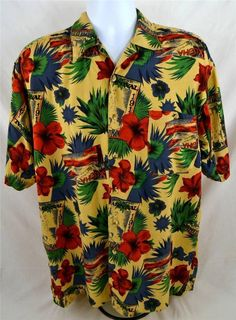 Jos J, Oliver Men's Size Large 100% Rayon Hawaiian Short Sleeve Casual Shirt #JosJOliver #Hawaiian