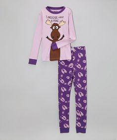 Another great find on #zulily! Purple 'I Moose Have a Hug' Pajama Set - Toddler & Girls by Lazy One #zulilyfinds