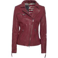 TRUE RELIGION Biker Backside La Crack Red // Biker leather jacket (1.600 BRL) ❤ liked on Polyvore featuring outerwear, jackets, leather jackets, coats & jackets, moto jacket, asymmetrical zip jacket, red biker jacket, real leather jacket and distressed leather jacket