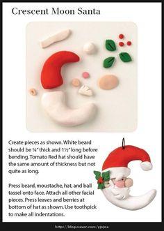 Tutorial: Santa Claus Moon  (Polymer Clay - Fimo - Cernit) https://www.facebook.com/MondoDiSisina https://www.etsy.com/it/shop/MondoSisina