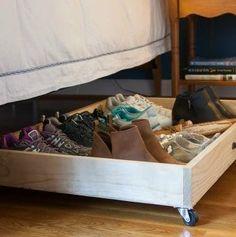 Best Under Bed Storage Solutions Shelves 47 Ideas Shoe Organizer Under Bed, Under Bed Shoe Storage, Under Bed Drawers, Shoes Organizer, Shoe Storage Drawers, Furniture Storage, Diy Storage, Kitchen Storage, Storage Ideas