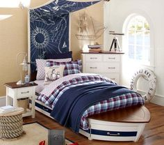 For your bedroom, this awesome boat-shaped bed will definitely make you wnat to get one. The drape a nautical map above your bed and add some cool decoration like all that you can see in the boat used for sea fare.