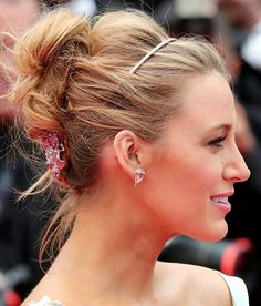 Glamorous yet chic and romantic hairstyle: Thin Headband w ruby encrusted rose hair-pin combo chignon updo.