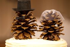 DIY Cake Topper :  wedding autumn brown cake cone diy fall hat pine pinecone reception top tophat topper veil 33ff0b830e146d23fb536740e1411f…