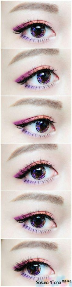 I'm pinning this because she coordinated her eye make up and contact lenses and that'd commendable. #Koreanmakeup #eyemakeupcrazy