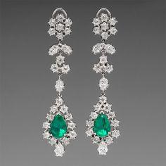 5.4 Carat Emerald & 8.5 Carat Diamond Platinum Earrings