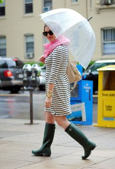 Stripes, Hunter Rainboots & a pop of pink for spring showers...