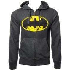 DC Comics Batman Logo Hoodie (Charcoal) ($62) found on Polyvore featuring tops, hoodies, jumper, sweatshirts hoodies, hooded pullover, logo tops, charcoal grey hoodie and logo hoodies