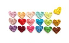 Crocheted hearts applique colorful Valentines day by MadeByElina