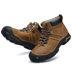 Men's Outdoor Waterproof Genuine Leather Hiking Warm Plush Lining Boots