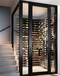 Glass Wine Cellar, Home Wine Cellars, Wine Cellar Design, Wine Cellar Modern, Under Stairs Wine Cellar, Wine Cellar Basement, Design Vitrail, Dream Home Design, House Design