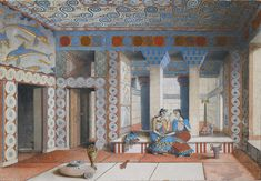 The Queen's Megaron room at Knossos; watercolor, early twentieth century. It was at the Knossos site that Arthur Evans found tablets covered with a script he called 'Linear B.' via NYT