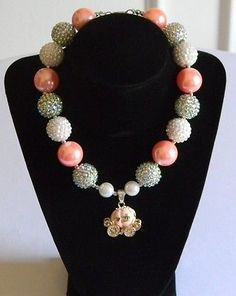 Girls Boutique Necklace Costume Jewelry Cinderella Peach & Gold Enamel Carriage