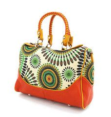 Coral & Green Woven Fashion Purse