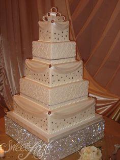 wedding cakes with bling Designer Wedding Cakes Bling Wedding Cakes, Extravagant Wedding Cakes, Floral Wedding Cakes, White Wedding Cakes, Elegant Wedding Cakes, Beautiful Wedding Cakes, Wedding Cake Designs, Beautiful Cakes, Floral Cake