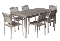 Features:  -Chairs: Andoized aluminum frame, textilene.  -Table: Andoized aluminum frame, polywood top.  -David collection.  Product Type: -Dining set.  Inner Frame Material: -Aluminum.  Table Top Mat