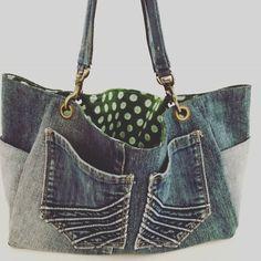 Items similar to Denim handbag/tote bag on Etsy Denim Tote Bags, Denim Handbags, Tote Handbags, Bleu Indigo, Turquoise Pattern, Recycled Denim, Distressed Denim, School Bags, Gym Bag