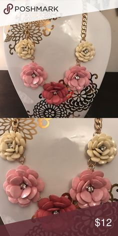 Statement Necklace Gold chain statement necklace with pink ombré flowers Jewelry Necklaces