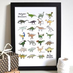 dinosaur alphabet print by becka griffin illustration   notonthehighstreet.com