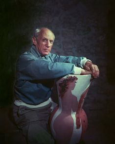 """2 Jul 1954 – """"Pablo Picasso • At Villa La Galloise"""" by Yousuf Karsh: """"The maestro's villa was a photographer 's nightmare, w/ his boisterous children bicycling thru vast rooms already crowded w/ canvases. I eagerly accepted his alternate suggestion to meet later in Vallauris at his ceramic gallery. The 'old lion' not only kept his photographic apmt. w/ me but was prompt & wore a new shirt."""""""
