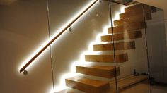 Modern Floating Stair With Wooden Treads And LED Lighting : Illuminate Your House Interior With Useful LED Lighting