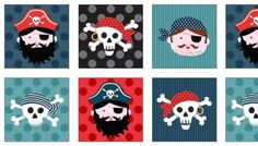 Pirates Labels by Andover square in rows Fabric Panel Quilts, Patchwork Fabric, Fabric Panels, Pirate Quilt, Pirate Face, Map Quilt, Gugu, Andover Fabrics, Quilt Labels