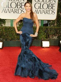 Sofia Vergara  The Modern Family star, nominated for her supporting role, looked as beautiful as ever in a custom navy Vera Wang peacock strapless mermaid gown with a knife-pleated bodice.