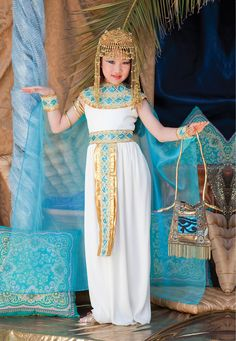Kids Cleopatra Costume-This is so cute and it would be so simple to sew, except for the headress.