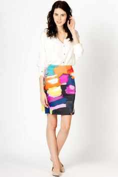 "Affordable Shopping by ""a-thread"" Dress this casual skirt up with a small neutral pop of color.   #Abstract Print Skirt"