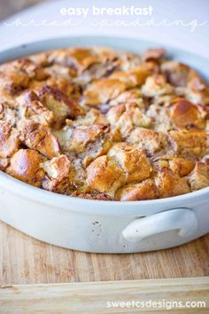 Quick and easy breakfast bread pudding from leftover rolls