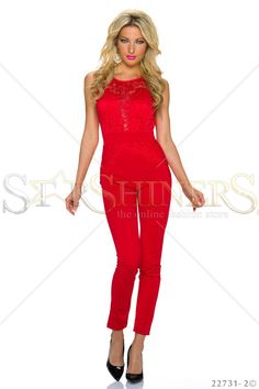 Laced Affair Red Jumpsuit Red Jumpsuit, Club Style, Product Label, Fall Trends, Leather Material, Clothing Items, Lace Detail, Beautiful Outfits, Affair
