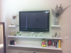 mounted tv & floating shelves!