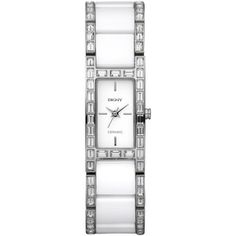 DKNY NY8408 Women's Diamanté Bezel Ceramix Ceramic Bracelet Strap Watch, White