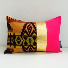 Colorblocked tribal Aztec southwestern style pillow cover with Native American arrow motif. Pendleton wool. Swoon!