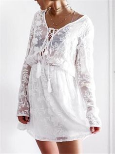 Sexy Silk Embroidered Flower V-Neck Lace Long Sleeve Dresses Shift Dresses, Sexy Dresses, Fashion Dresses, Dms Boutique, Long Cocktail Dress, Cocktail Dresses, Mini Dress With Sleeves, Different Dresses, Formal Evening Dresses