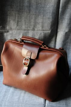hand stitched brown leather doctor bag / carry on bag