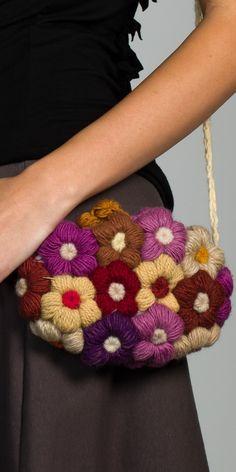Multi Colored Crochet Flower Bag