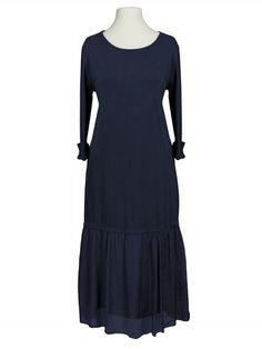 Damen Kleid Seidenvolant, blau von Diana bei www.meinkleidchen.de