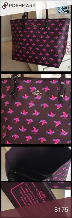 """Coach Reversible City Tote Coach Reversible City Tote in Happy Bird Print Canvas. Coated canvas, handles with 9-1/2"""" drop, reverses to solid burgundy . Color is Burgundy multi oxblood. Silvertone metal accents. 17-1/2"""" (L) x 11-1/2"""" (H) x 6-1/4"""" (W).  🚫NO TRADES Coach Bags Totes"""