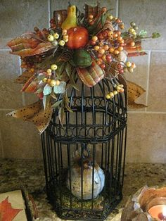 Welcome to the fourth share your creations party! I hope you will participate! First, I want to thank you all for your nice comments on my. Bird Cage Centerpiece, Fall Lanterns, Fall Arrangements, Seasonal Decor, Fall Decorations, Fall Projects, Bird Cages, Painted Pumpkins, Fall Wreaths