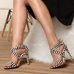 Double Cross-Strap High Heel Black White Striped Sandals Upper Material: PU Inner Material: PU Soles Material: Rubber Heel Style: Stiletto Platform Height: Heel Height: Toe Cap: Round Closure Type: Buckle Strap Gender: Women Depth of Opening: Shallow Open Toe High Heels, Platform High Heels, Black High Heels, High Heels Stilettos, Women's Pumps, Stiletto Heels, Shoes Heels, Heeled Sandals, Dress Sandals