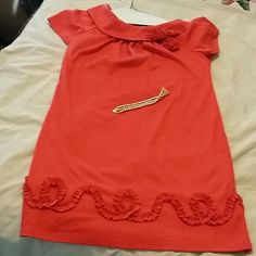 R&M Richards, coral, embellished size 14W dress This dress by R&M Richards has decorative swirl design around the entire bottom of dress.  Dress has a cowl - like collar with 3 rosettes attached to one side.  Very giving dress as far as size.  Dress is a 14W with stretch. Very cute dress for church or wedding. R&M Richards Dresses