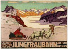 Jungfrau Bahn - Station Jungfraujoch (3457) - Aletsch Gletscher-Plakat